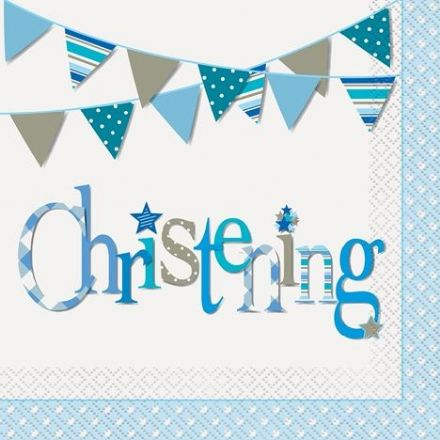 16 Blue Christening Luncheon Napkins
